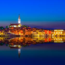 Old Town in Rovinj, Croatia by Marcin Frąckiewicz - City,  Street & Park  Night ( mirrored reflections, sky, sunset, sea )