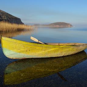Quiet sunset by Olsi Belishta - Novices Only Landscapes ( pogradec, lake, lake ohrid, boat, albania )