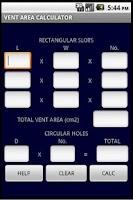 Screenshot of GAS VENTILATION CALCULATOR GB