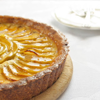 Apple-Cheesecake Tart with an Almond Crust & Salted Caramel Glaze