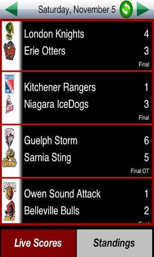 OHL Hockey Scores