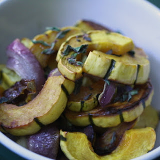 Warm Delicata Squash Salad with Balsamic-Oregano Drizzle