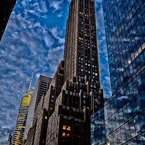 New York canyons by Gene Myers - Buildings & Architecture Office Buildings & Hotels ( shotsbygene, clouds, skyline, hdr, skyscrapers, color, buildings, windows, cityscape, new york city, tall, gene myers,  )