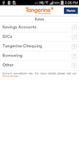 Screenshot of Tangerine Banking