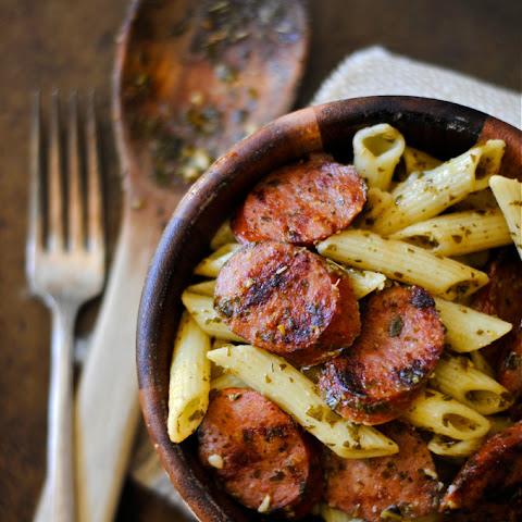 Grilled Kielbasa and Pesto Penne