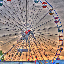 Wheel in the Sky by Christine May - City,  Street & Park  Amusement Parks ( ride, amusement park, sunset, county fair, fair, ferris wheel,  )