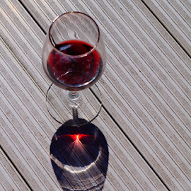 Wine and sunshine by Michelle Cain - Food & Drink Alcohol & Drinks ( wine, reflection, red, glass, pier, sunshine, pinot )