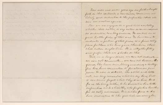 Abraham Lincoln. The Gettysburg Address (Bancroft Copy). February 1864.