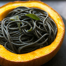 Squid Ink Pasta with Pumpkin, Sage and Browned Butter