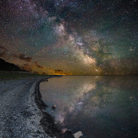 Lake Oahe III by Aaron Groen - Landscapes Starscapes ( reflection, pike haven, pike haven resort, lake oahe, stars, homegroen photography, aaron j. groen, south dakota, pierre, galaxy, milky way )