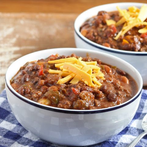 Slow Cooker Ground Beef and Chorizo Chili