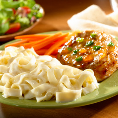 Glazed Pork Chops With Noodles Alfredo