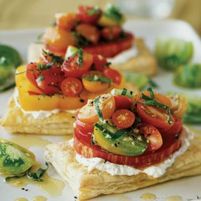 Tomato Tarts with Basil and Fresh Goat Cheese