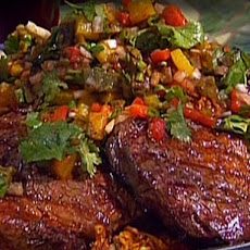 Grilled Rib-Eye with Roasted Pepper Salsa