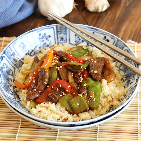 Stir-Fried Beef Peppers and Snow Peas with Cauliflower Rice