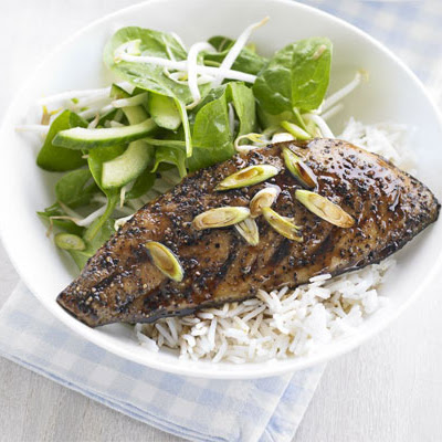 Teriyaki Mackerel With Tangy Cucumber Salad