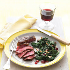 Pan-Seared Steak with Spinach, Grapes, and Almonds