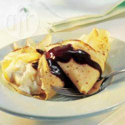 Pear Pancakes With Chocolate Sauce