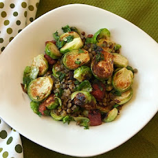Fried Brussels Sprouts with Lentils