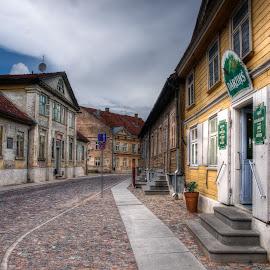 Old town by Šarūnė Sederevičiūtė - City,  Street & Park  Historic Districts ( hdr, street, streetscape, old town, historic district, historical, latvia, kuldiga )