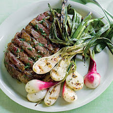 Grilled Spring Onions and Rib-Eye