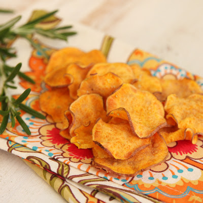 Crispy Baked Sweet Potato Chips with Rosemary Garlic Salt