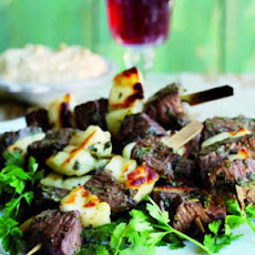 Quick and fresh kebabs with Greek flavours of mint, lemon and halloumi