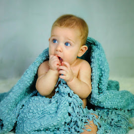Lucas by Sharon Fuscellaro Canale - Babies & Children Child Portraits ( child, blanket, blue, baby, boy, eyes )