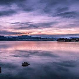 Purple sunset by Benny Høynes - Landscapes Sunsets & Sunrises ( mountains, purple, sunset, sea, pink, landscape, norway )