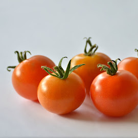 Tomatoes by Melanie Pista - Food & Drink Fruits & Vegetables ( fruit, five, red, stalk, tomatoes )