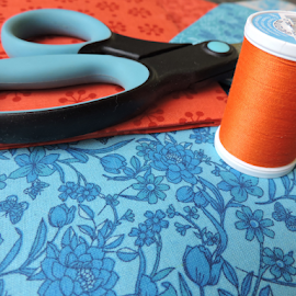 Bright Colors by Jamie Boyce - Artistic Objects Clothing & Accessories ( sewing, orange, challenge, clothing, blue, color, fabric, swatch, supplies, orange. color )