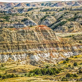 Painted Canyon by Julie Wooden - Landscapes Mountains & Hills ( north dakota, theodore roosevelt national park, outdoors, rock formation, spring,  )