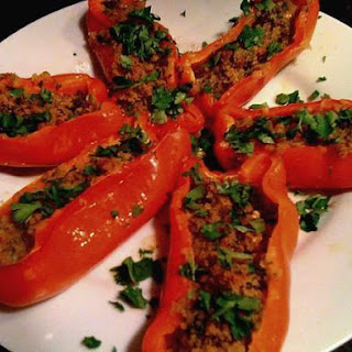 Roasted Pepper Halves with Bread Crumb Topping