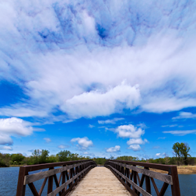 Mallard Lake County Forest by MIGUEL CORREA - Buildings & Architecture Bridges & Suspended Structures ( water, clouds, mallard lake county forest, lakes, cloudy, lake, bridge, rivers )