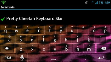 Screenshot of Pretty Cheetah Keyboard Skin