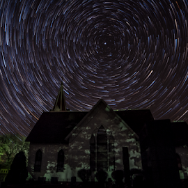Star life by Joseph Mills - Abstract Light Painting ( exposure, old, church, cemetery, quiet alone, rare one, north, long, polaris, time, joseph mills, lapse, stars, trees, trails )