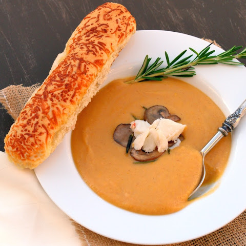 Butternut Squash Soup with Jumbo Lump Crab and Rosemary Mushrooms