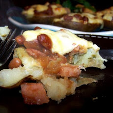 Potato Skins Filled With Ham, Baked Beans and Cheese