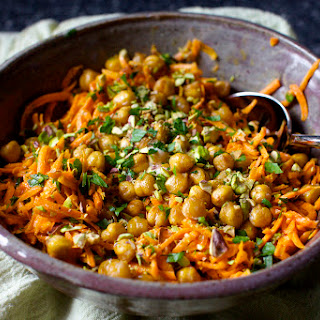 Carrot Salad with Tahini, Crisped Chickpeas and Salted Pistachios