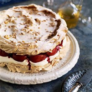 Muscovado And Hazelnut Meringue Cake With Mulled Wine-spiced Pears