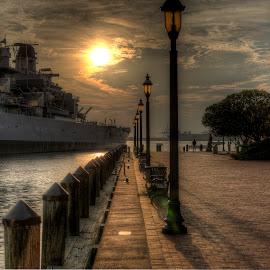 USS WISCONSIN Sunset by Dean Tunberg - City,  Street & Park  Historic Districts ( bench, park, sunset, norfolk, battleship )