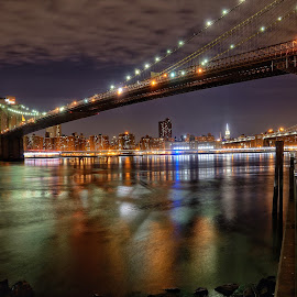 Manhattan View by Paul Young - City,  Street & Park  Night ( brooklyn bridge, vista, empire state building, manhattan, night, new york, brookyln )