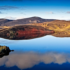Landscape in Iceland  by Þorsteinn Ásgeirsson - Landscapes Mountains & Hills ( water, hill, reflection, sky, mountain, blue, lake )