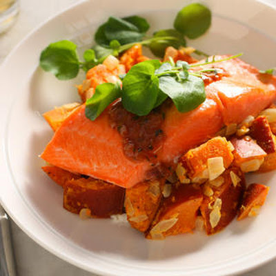 Coho Salmon with Sweet Potato Salad and Cinnamon Sauce