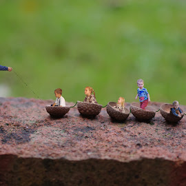 Pull by Peter Wood - Digital Art People ( tiny, macro, cups, family, art, little, fun, digital, my, wall, world, acorn )