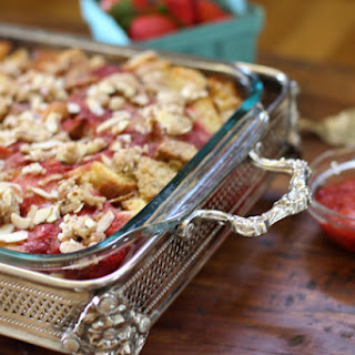 Strawberry Rhubarb Baked French Toast with Almond Streusel Topping