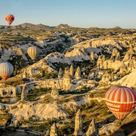 Hot air balloons by Stefania Loriga - Landscapes Caves & Formations ( sky, turkey, balloons, rocks, cappadocia )