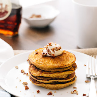 Pumpkin Pancakes with Maple Mascarpone (Gluten-Free)