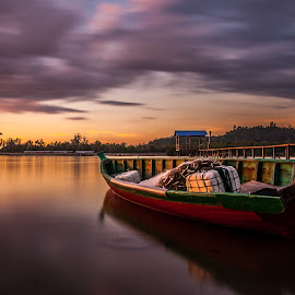 Locked & Loaded by Eric Tai - Transportation Boats ( sky, waterscape, sunset, long exposure, jetty, boat, longexposure, river,  )