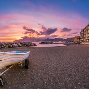 Porticciolo di Pastena @ Sunset by Sabrina Campagna - Landscapes Waterscapes ( campania, port, waterscape, sunset, tramonto, landscape, italy, salerno,  )